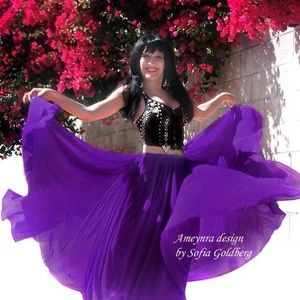 Purple chiffon skirt Double circle Ameynra design